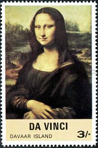 mona lisa gioconda on postal stamps