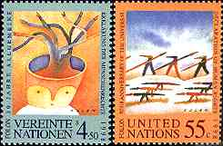 50th Anniversary, UN, NY and Vienna, 1998. By Folon.