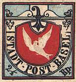 Dove of Basel, 1845, Sc. 3L1. The most beautiful classical stamp.